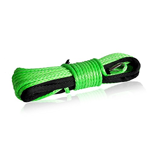 QIQU Winch Rope 3/16 inch Synthetic Winch Rope for Electronic Winch on ATV/UTV/Snowmobile with Sleeve and Thimble (3/16