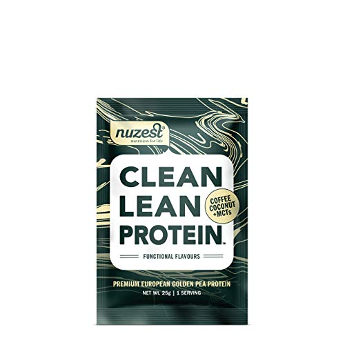 Nuzest Clean Lean Protein Functionals - Premium Vegan Protein Powder, European Golden Pea Protein, Dairy Free, Gluten Free, GMO Free, Naturally Sweetened, Coconut, Coffee & MCTs, Single Serving