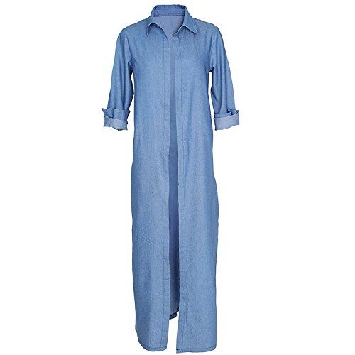 Maxi Manteau Devant Up Longues Chemisier Bleu Duster Blouse Shirt Chemise Façon Haut Top Jean Trench Coat Denim Cover Longue Szivyshi Long Manches 5gqUnYYCw
