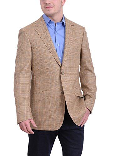 Mens Napoli Slim Fit Tan Glen Plaid Half Canvassed Wool Silk Blazer Sportcoat