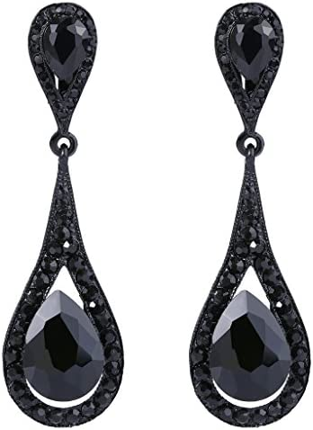 EVER FAITH Women's Austrian Crystal Elegant Dual Tear Drop Clip-on Dangle Earrings