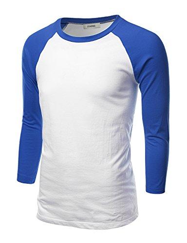 T-shirt Raglan Tone (IDARBI Mens Crew Neck 3/4 Sleeve Raglan Baseball T-Shirt WHITEROYAL S)