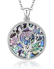 Tree of Life Kattenketting voor vrouwen, sterling zilveren Abalone schelp/parelmoer familie boom hanger ketting met uil sieraden geschenken, voor dierenliefhebber