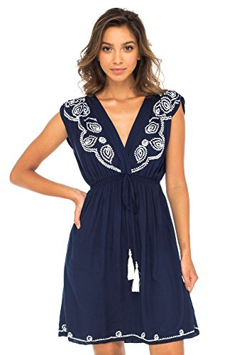 - Back From Bali Womens Dress Boho Embroidered Sleeveless Summer Sundress Deep V Neck Midi Short Dress Navy L/XL