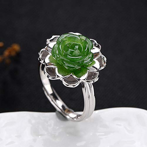 Mosaic Show Silver Quality (Weiwei Men Ring Rings S925 Sterling Silver Mosaic Natural Jasper Women's Minimalist Atmosphere Rose Ring Send Friends Family Birthday Graduation Gift)