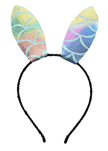 Fish Headband Costume (Fish Scales Unicorn Mouse Rabbit Cat Ears Headband for Halloween Costume Party (C Rainbow Rabbit Ears))