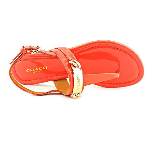 12389fb06fa9 Coach Caterine Women Open Toe Patent Leather Pink Thong Sandal