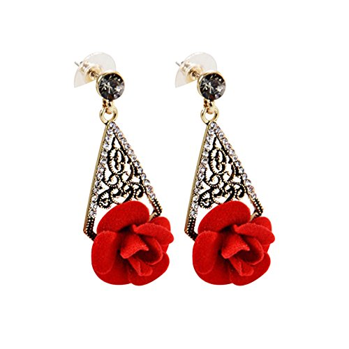 JUST N1 2018 Fashion Handcrafted Simulated Red Coral Carved Rhinestones Rose Flower Earrings Christmas Gift