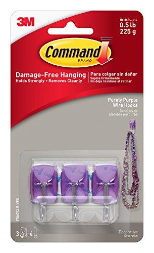 Command 17067CLR-VES Purely Purple Small Wire Hooks