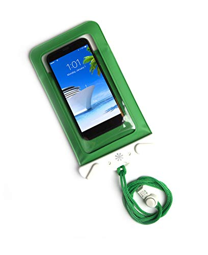 (Tech Candy Dry Spell Water Defender Bag for iPhone & Android Floats Adjustable Lanyard Protection Text Thru Window Waterproof Snowproof Universal Pouch Beach Lake Ocean Pool2019 Edition Green)