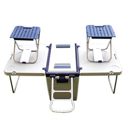 KOUPA Rolling Cooler Picnic Table Multi Function para Picnic Fishing Almacenamiento portatil Alimentos Bebidas Incluidas Mesa Plegable con Dos sillas Camping Trip Cooler