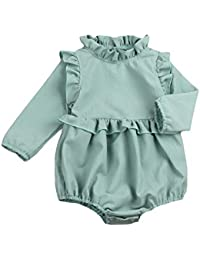 Toddler Baby Girl Ruffled Collar Sleeveless Romper...