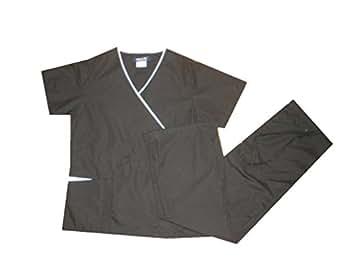 NATURAL UNIFORMS Women's Scrub Set Contrast Mock Set Medical Scrub Set XS Black SET / White Trim