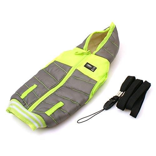 System-S Smartphone Jacke Handy Tasche Schutz Hülle Cover Case für Smartphones MP3-Player Grau / Neongelb