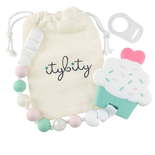(Cupcake Teething Toy with Pacifier Clip Girl, Baby Gift Set (Pink, Mint,)