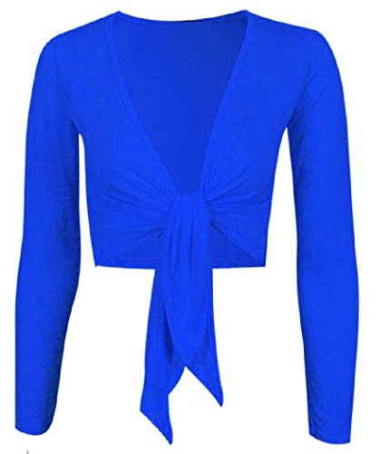 WOMEN'S TIE UP CROP SHRUG WRAP BOLERO CARDIGAN TOP SIZES (SM, ROYAL BLUE)