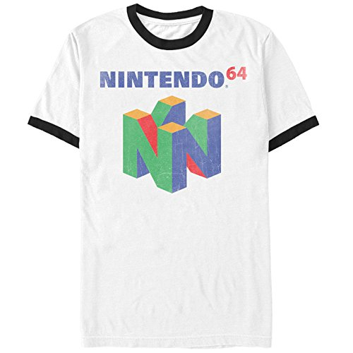 (Nintendo Men's Classic N64 Logo White/Black Ringer T-Shirt)