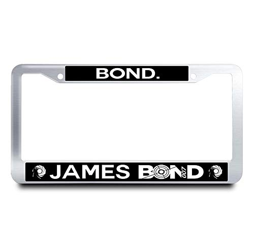 Nuoyizo Bond. James Bond License Plate Frame Fluorescence Tag Holder Stainless Steel License Plate Cover + 2 Chrome Screw Caps (Silver)