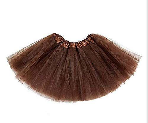 (belababy Baby Girl Tutu 5 Layers Tulle Halloween Dress Up Skirt (Coffee, 0-24 Months) )