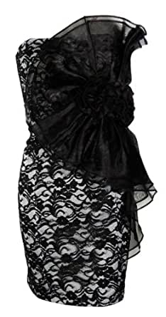 Betsy & Adam Lace Overlay Dress Black/White 10 [Apparel]