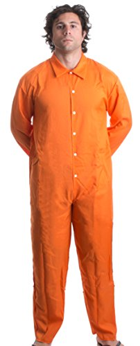 Prisoner Jumpsuit | Orange Prison Inmate Halloween Costume Unisex Jail Criminal-Adult,S