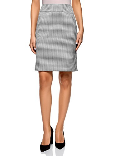 oodji Collection Women's Straight Jacquard Skirt, Grey, 6 by oodji