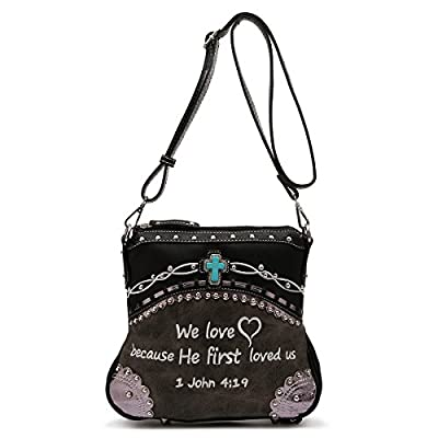 Western Crossbody - Embroidered Bible Verse John 4:19 Messenger Style Bag
