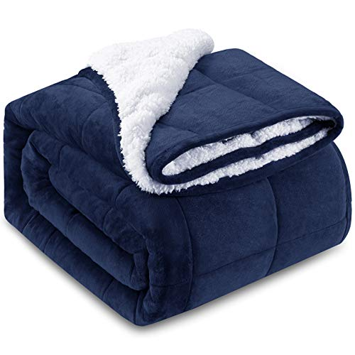 HBlife-Sherpa-Fleece-Weighted-Blanket-for-Adults-Oeko-Tex-Certified-15-lbs-Thick-Fuzzy-Bed-Blanket-Heavy-Reversible-Soft-Fleece-Blanket-with-Premium-Glass-Beads-60-x-80-Navy-Blue