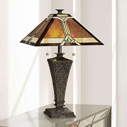Mission Table Lamp Bronze Wicker Pattern Stained Art Glass Shade for Living Room Family Bedroom Bedside - Robert Louis Tiffany