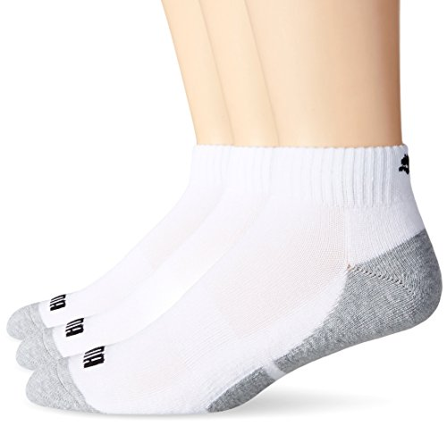 (PUMA Socks Men's Quarter Cut Socks, White, Sock Size:10-13/Shoe Size: 6-12 (Pack of 6))