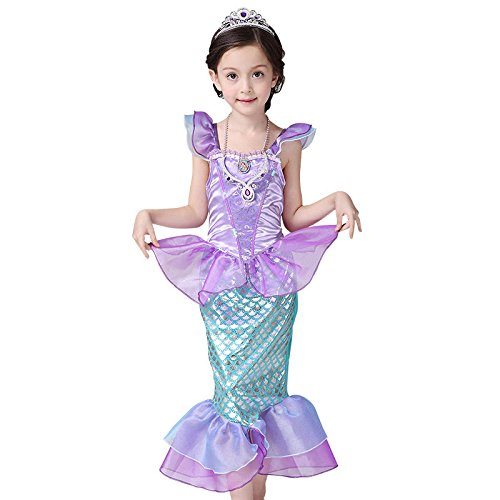 Ariel Dress, Mermaid tail Fancy Ruffle Sleeve Dresses for Girl Princess Christmas Party Dresses Ariel Bling Cosplay Costume by floweryocean (XL) (Girl Ariel Costume)