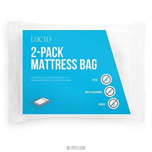 (LUCID 2-Pack Mattress Moving and Storage Bags - Water and Dirt Resistant 2 mil Polyethylene - Twin)