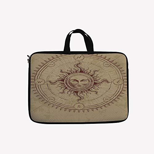 Ersatzglühlampen Für Weihnachtsbeleuchtung.3d Printed Double Zipper Laptop Bag Face In Circle Like Radiating Sun Antique Image 15 Inch Canvas Waterproof Laptop Shoulder Bag Compatible With