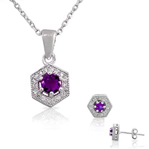 925 Sterling Silver Purple Violet White CZ Womens Round Pendant Necklace Stud Earrings Set