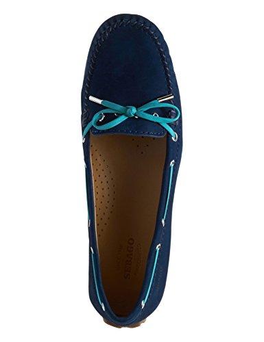 Harper Navy Leather Tie Sebago Loafers Women's qCP50T