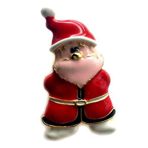 Gold Plated Christmas Tree Santa Claus Rhinestone Enamel Brooch Christmas Pin (Item - Santa Claus 2)