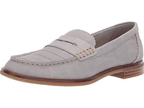 (Sperry Top-Sider Seaport Croc Nubuck Penny Loafer Women 8 Grey)