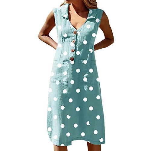 Londony❀♪ Women Summer Pleated Polka Dot Pocket Loose Swing Casual Midi Dress Boho Sleeveless V Neck Swing Dress Blue
