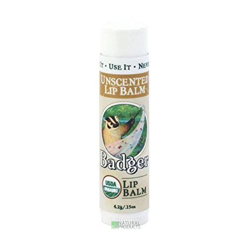 Badger UNSCENTED Classic Lip Balm USDA Organic With Beeswax