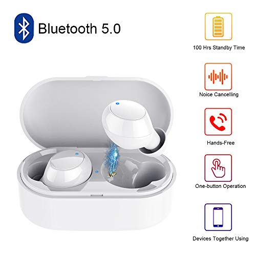True Wireless Earbuds Bluetooth,Y1 5.0 Auto Pairing Wireless Earphones,4D HiFi Sound, Noise Cancelling Built-in Mic,IPX5 Water-Resistant with Charging Case for iPhone Android Smart Phones (White)
