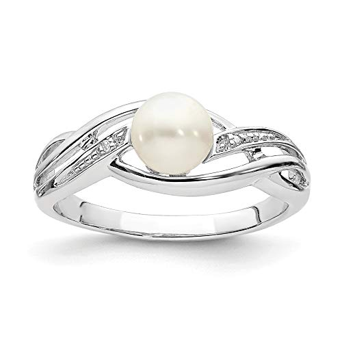 925 Sterling Silver Diamond Freshwater Cultured Pearl Band Ring Size 8.00 Fine Jewelry Gifts For Women For Her ()