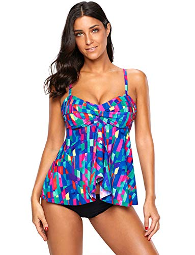 Women's Ruffled Floral Tankini Swimsuits with Brief Padded Bathing Suits, Blue M ()