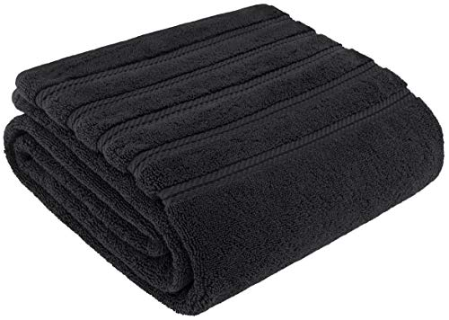 - American Soft Linen Luxury Oversized Turkish Bath Sheet Towel, Extra Large 35x70 inches, Jumbo Size, Genuine Ring Spun Cotton for Absorbency and Softness, Black