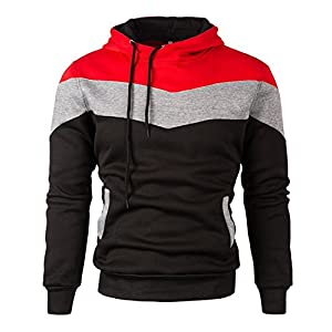 Mooncolour Mens Novelty Color Block Hoodies Cozy Sport Outwear