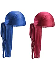 2 PCS Long Tail Durag, Silk Durag 360 Waves Headwraps Wide Straps Pirate Hair Loss Chemo Cap Bandana Turban Hat for Women and Men Hip-hop and Daily Decoration (Black, Wine red) (Royal Blue,Wine Red)