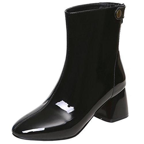 Rongzhi Damen Stiefeletten Reißverschluss Schnalle Blockabsatz Kurzschaft Stiefel Pumps Schuhe Lackleder Vsaq0X8