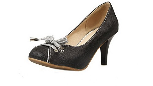 Odomolor Women's Pull-On High-Heels Blend Materials Solid Round-Toe Pumps-Shoes Black fPIJ8a
