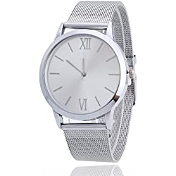Women Ladies Watch,FUNIC Silver Stainless Steel Mesh Band Wrist Watch (White)