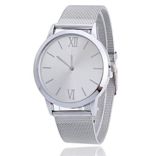 Women Ladies Watch,FUNIC Silver Stainless Steel Mesh Band Wrist Watch (White) (Calendar Automatic White Watch)