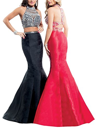 MARSEN Mermaid Two Piece Prom Dresses Long Halter Beaded Backless Evening Gowns Black Long Size 14 (Dress Two Mermaid Piece)